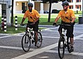 US Navy 090825-N-4044H-021 Bike patrolman Master-at-Arms 3rd Class Aaron Mark Isaac and Master-at-Arms 2nd Class Matthew L. Birmingham patrol on Naval Support Activity (NSA) Naples Capodichino base.jpg