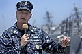 US Navy 100422-N-9818V-278 Master Chief Petty Officer of the Navy (MCPON) Rick West holds an all-hands call with the crew of the guided-missile destroyer USS James E. Williams (DDG 95).jpg