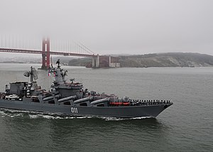US Navy 100625-G-7265M-396 Russian Sailors man the rails as Russian navy missile-cruiser Varyag departs San Francisco Bay.jpg