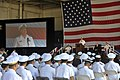 US Navy 100729-N-8273J-050 Chief of Naval Operations (CNO) Adm. Gary Roughead delivers remarks during the roll out ceremony of the Navy's newest airborne early warning and control aircraft, the E-2D Advanced Hawkeye.jpg