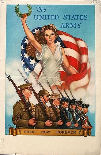World War II United States Patriotic Army Recruiting Poster US Patriotic Army Recruiting Poster WW2 Then Now Forever.jpg