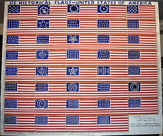 History of the flags of the United States - A 2.00 m × 1.70 m oil painting showing historical U.S. flags.