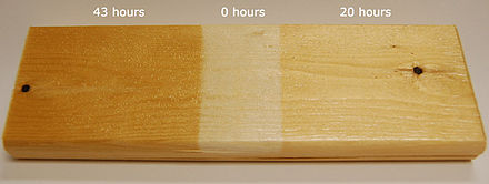 Effects of UV on finished surfaces in 0, 20 and 43 hours. UV effect on finished wood.jpg