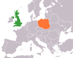 Map indicating locations of United Kingdom and Poland