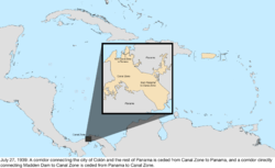 Map of the change to the United States in the Caribbean Sea on July 27, 1939