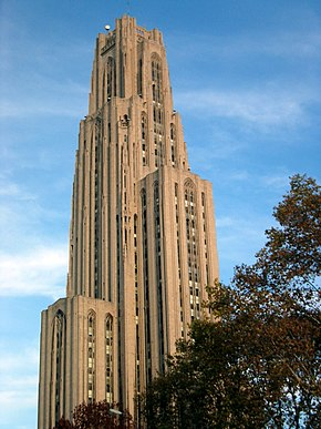 The university's neo-gothic Cathedral of Learning.