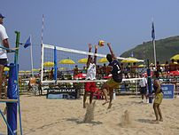 A beach volleyball court is 128 m².