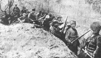 Caucasus Campaign - Siege of Van, Armenian troops holding a defense line against Ottoman forces in the walled city of Van in May 1915