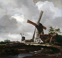 painting of windmills