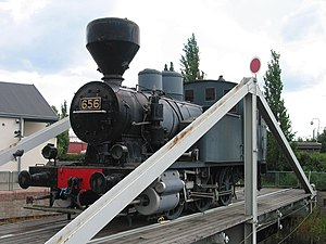 "VR Class Vr1 - Vr Class Vr1 0-6-0T steam locomotive no. 656 ""Kana"" (""Hen"") on a turntable outside Salo Art Museum in Salo"