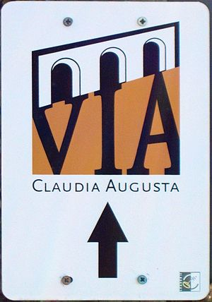 Via Claudia Augusta - Modern signage of the revitalized track near Unterdiessen, Bavaria.
