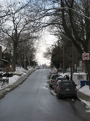 Victoria Park Avenue - Victoria Park is a narrow residential street as it climbs the western edge of the Scarborough Bluffs in the Beaches