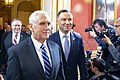 Vice President Pence Arrives with Polish President Duda at a Welcome Dinner on the Margins of the Warsaw Summit (46367721034).jpg