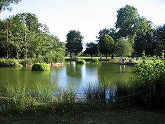 Parks and open spaces in London - The bathing pond at Victoria Park. Unused for bathing since the 1930s.