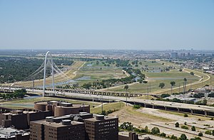 Trinity River (Texas) - The Trinity River as viewed from Reunion Tower in Dallas in August 2015