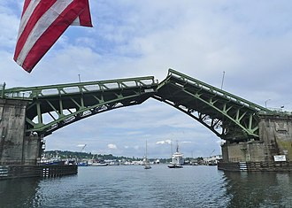 Ballard Bridge - Image: View from boat of Ballard Bridge opening Seattle 2011
