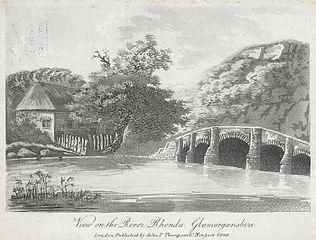 View on the river Rhonda, Glamorganshire