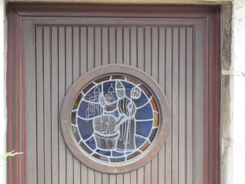 Ville-en-Vermois (M-et-M) vitrail Saint Nicolas, porte d'une maison
