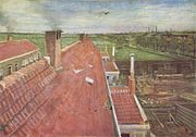 A view from a window of pale red rooftops. A bird flying in the blue sky and in the near distance fields and to the right, the town and others buildings can be seen. In the distant horizon are smokestacks