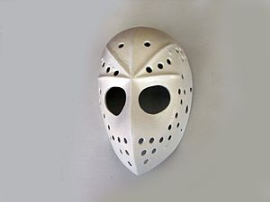 Goaltender mask - 1970s mask made by Fibrosport
