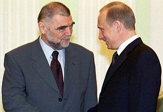 Stjepan Mesić - Mesić with President of Russia Vladimir Putin at the Kremlin on 16 April 2002.
