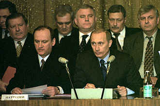 Counterintelligence state - Russian President Vladimir Putin and former FSB director Nikolai Patrushev at a meeting of the board of the Federal Security Service in 2002.