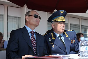 "Medal ""For Impeccable Service"" - Russian Air Force commander Colonel General Alexander Zelin, a recipient of the Soviet medals ""For Impeccable Service"" 2nd and 3rd classes, pictured in company of President Vladimir Putin."