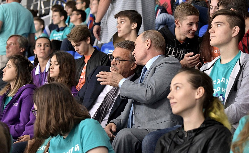 Vladimir Putin at the opening ceremony of the 2019 Sirius Junior Club World Cup (2019-08-23) 2.jpg