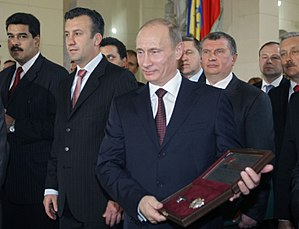Nicolás Maduro - Maduro, beside Tareck El Aissami, present Vladimir Putin the Key to the City of Caracas in April 2010.