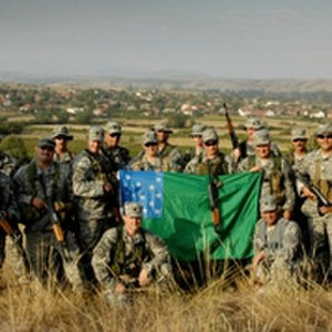 Flag of the Green Mountain Boys - A Vermont National Guard unit displaying the flag while abroad.