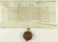 Władysław III Warneńczyk król polski i węgierski, pozwala miastu Poznaniowi w uznaniu jego wierności, wykupić należące do króla landwójtostwo i zatrzymać jako własność miejską.png