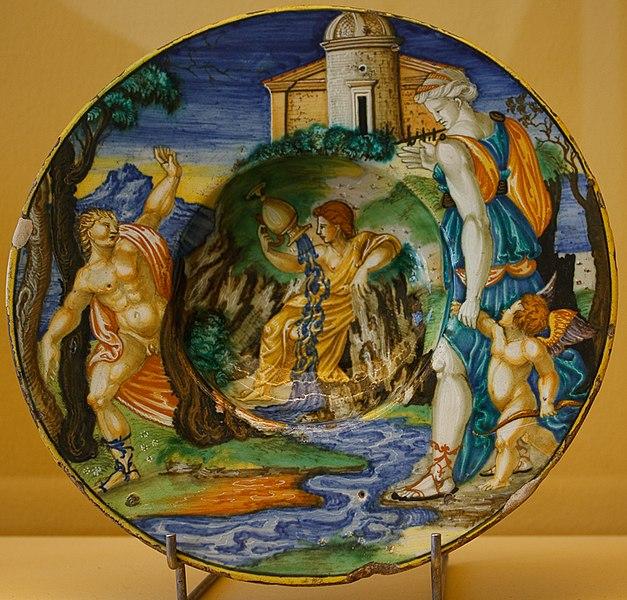 File:WLANL - MicheleLovesArt - Museum Boijmans Van Beuningen - Istoriato schotel, Echo, Amor en Narcissus.jpg