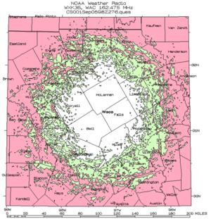 WXK35 - Coverage Area of WXK35 in Waco