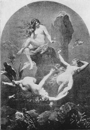 Rhinemaidens - The three Rhinemaidens at play in the waters of the Rhine. Illustration from Stories of the Wagner Opera by H. A. Guerber, 1905.