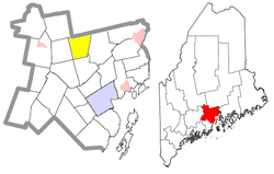 Location of Jackson (in yellow) in Waldo County and the state of Maine