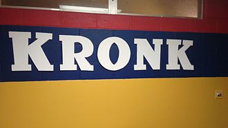 Kronk Gym - Logo on wall in locker room of new gym location