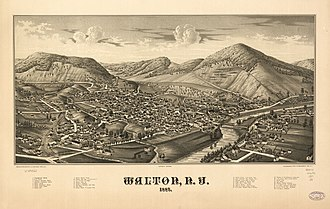 Walton (town), New York - Lithograph of Walton from 1887 by L.R. Burleigh including list of landmarks