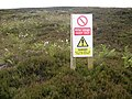 Warning sign, Brow Grain Hill, Meltham - geograph.org.uk - 499644.jpg