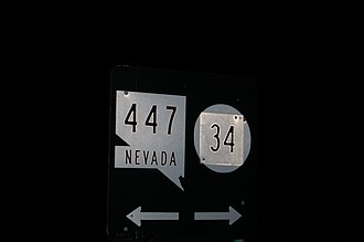 Nevada State Route 34 - The junction of Nevada 447 and CR 34. Notice that the shield for CR 34 is a circle, this is to indicate that CR 34 is not a state route.