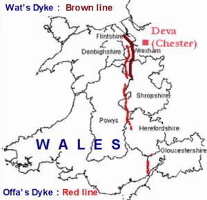 Welsh Lost Lands - Wat's Dyke in brown; Offa's Dyke in red