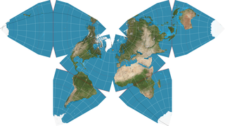 Waterman butterfly projection world map projection in the shape of the namesake insect