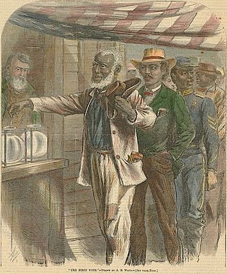 History of the United States (1865–1918) - Reconstruction gave black farmers, businessmen and soldiers the right to vote for the first time in 1867, as celebrated by Harper's Weekly on its front cover, Nov. 16, 1867.