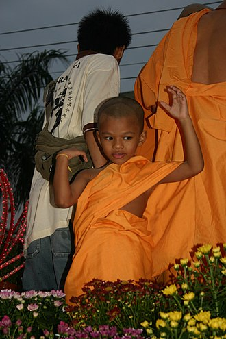 Vesak - Young novice monk on Vesākha Day Parade