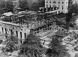 Eric Gugler - West Wing under construction, 1934.