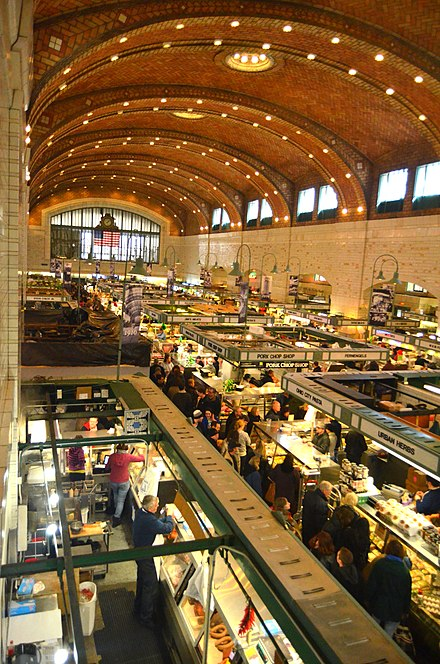 The historic West Side Market in Cleveland's Ohio City neighborhood. West Side Market 1st Saturday Open after the Fire (8503339399).jpg
