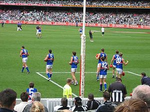Western Bulldogs - Western Bulldogs players during warm-up against Collingwood in 2004