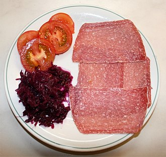 Salami - Salami varieties include this smoked Westphalian salami with added Camembert cheese culture