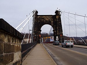 National Road - The Wheeling Suspension Bridge across the Ohio River was completed in 1849 and is still in use by local traffic.