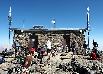 White Mountain Peak - Hikers resting at the summit hut on the 2018 open gate day.
