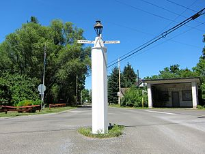 """White Post, Virginia - The """"White Post"""" in the intersection of White Post Road and Berrys Ferry Road"""